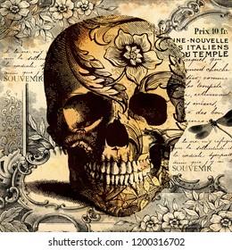 Tatoo Skull on floral background