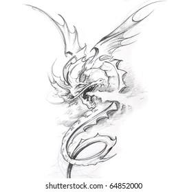 Tattoo art, sketch of a medieval dragon