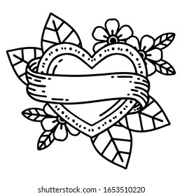 tattoo in black line style of a heart and banner