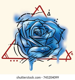 Tattoo blue rose, illustration with watercolor spots. Female tattoo with drops dew. Female tattoo on shoulder, scapula, waist. Tattoo for game character. High resolution image on white back ground