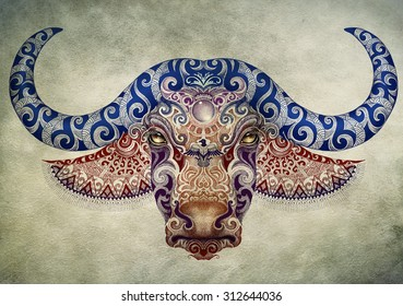 bc1f5affd4533 Tattoo, dotwork, bull, buffalo head with horns and beautiful hand painted  ornaments.