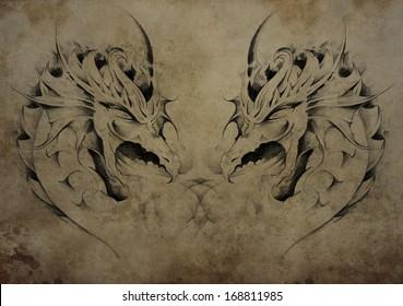 Tattoo dragons over vintage paper, black tribal tattoos