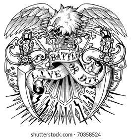 Tattoo eagle with outstretched wings.