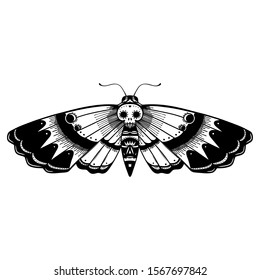 tattoo flash of a deaths head moth in a day of the dead inspired style
