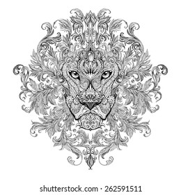 Tattoo, graphics head of a lion with a mane of black and white graphics on a white background with floral ornaments