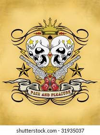 tattoo guns and skulls crest