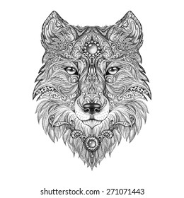 Tattoo head wolf wild beast of prey. Handmade black and white graphics