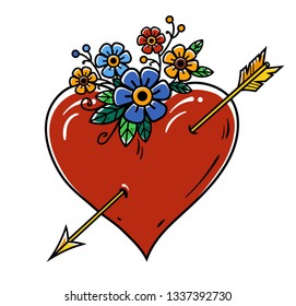 Tattoo Heart pierced with gold arrow. Red heart decorated with flowers. Old school tattoo. Holiday illustration for Valentines Day. Isolated on white background