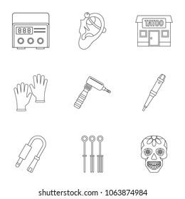 3bb99db89d811 Tattoo salon equipment icon set. Outline set of 9 tattoo salon equipment  icons for web