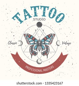Tattoo school poster. Banner with mystical butterfly tattoo and orbiting moon. Geometry style. Illustration for tattoo parlor, school, studio