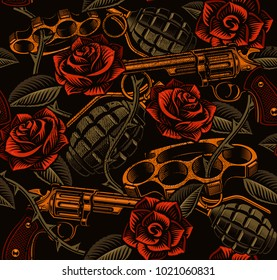 tattoo seamless background with roses and wepons. Design of textile texture. (RASTER VERSION)