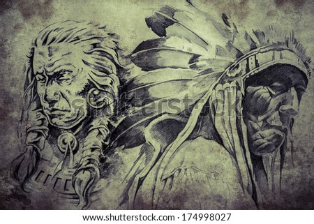 Tattoo Sketch American Indian Warriors Hand Stock Illustration
