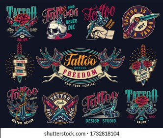Tattoo studio colorful vintage badges with military and pocket knives skull pierced with dagger tattoo machines ship anchor swallows holding ribbon with freedom word isolated illustration