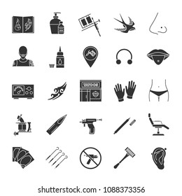 Tattoo studio glyph icons set. Piercing service. Tattoo sketches, instruments and equipment. Silhouette symbols. Raster isolated illustration