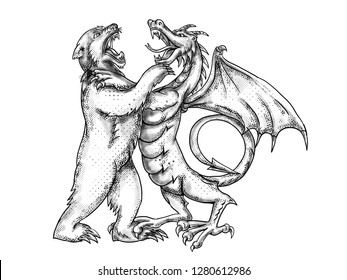 Tattoo style illustration of a  Chinese dragon wrestling, jousting, sparring or fighting a grizzly bear on isolated white background done in black and white greyscale.