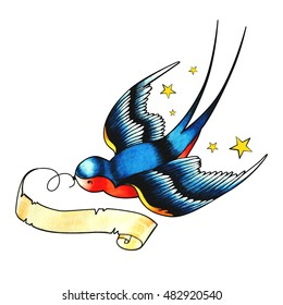 Tattoo Style Swallow. Watercolor illustration