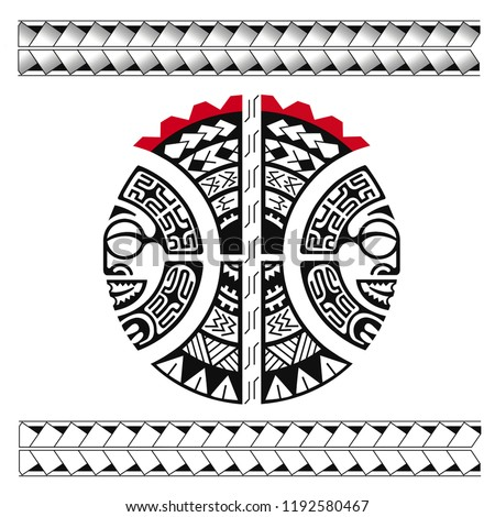 tattoo template circle shoulder knee elbow stock illustration