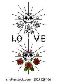 Tattoo template illustration. Line art concept with skull and flowers and color sample