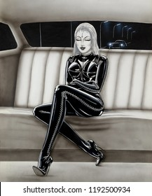 Tattoo template in SM style. Blonde dominatrix in old-fashioned car in skin tight laced full body suit. high-heeled boots and arm-length rubber gloves. Tasty lips and eyes. Endless long legs crossed