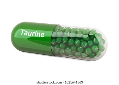 Taurine, dietary supplement. 3D rendering isolated on white background