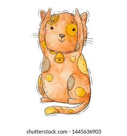 Taurus - cat zodiac - Watercolor hand drawn illustration of a cute brown cat.