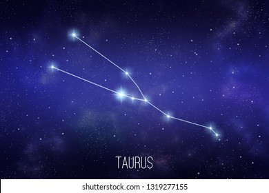 Taurus zodiac constellation on a starry space background with lettering