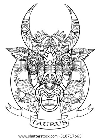Taurus Zodiac Sign Coloring Book Adults Stock Illustration 518717665