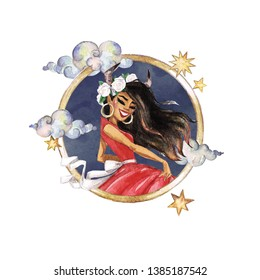 Taurus - Zodiac Symbol. Watercolor Illustration.