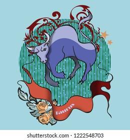 Taurus zodiac in tattoo style