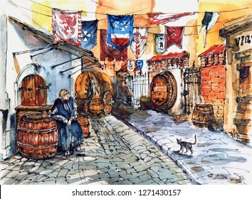 Tavern in the old town Period of history The Middle Ages. Drunk monk. Watercolor
