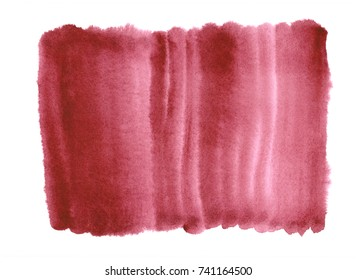 Tawny Port burgundy watercolor abstract background. Gradient fill with watercolour stains. Hand painted texture. Template with uneven edges.
