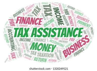 Tax Assistance word cloud.