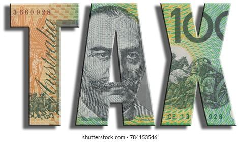 Tax. Australian dollar texture.