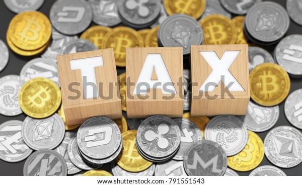 Steuerkonzept mit Holzblöcken, die unter verschiedenen Kryptowährungsmünzen liegen. 3D-Rendering
