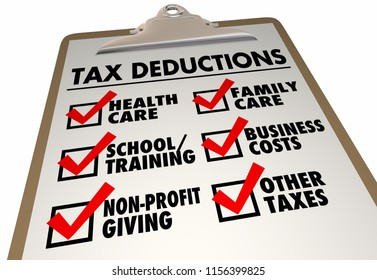 Tax Deductions Reduce Money Owed Checklist Clipboard 3d Illustration