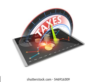 Tax economy refund money as concept. Time to pay taxes, accounting, tax return, banking 3D Illustration .