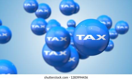 Tax as financial metaphor balls background 3d illustration