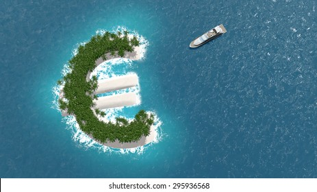 Tax haven, financial or wealth evasion on a euro shaped island. A luxury boat is sailing to the island.