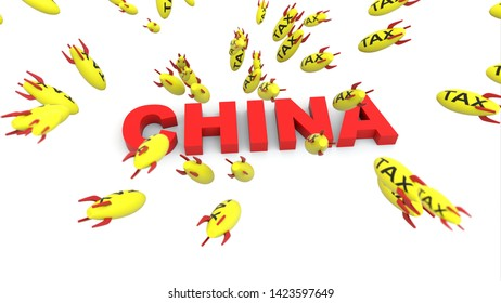 tax missle to china  3d illustration background