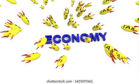 tax missle to economy 3d illustration background