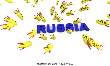 tax missle to russia 3d illustration background