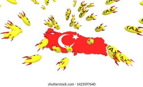 tax missle to turkey 3d illustration background