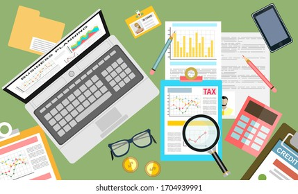 Tax payment concept. State Government taxation, calculation of tax return. Tax form with paper documents, forms, calendar, laptop, calculator. Pay the bills, invoices, payrolls.illustration.