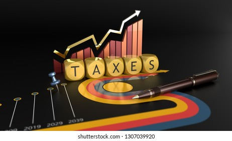 Tax reform and economic charts. Time to pay taxes 3D illustration