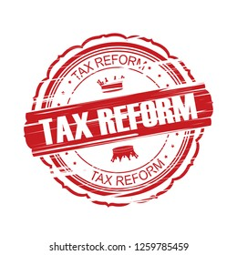 Tax reform grunge Stamp.
