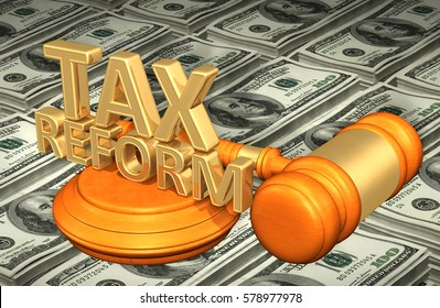 Tax Reform Legal Gavel Concept 3D Illustration