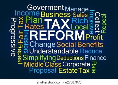 Tax Reform Word Cloud on Blue Background