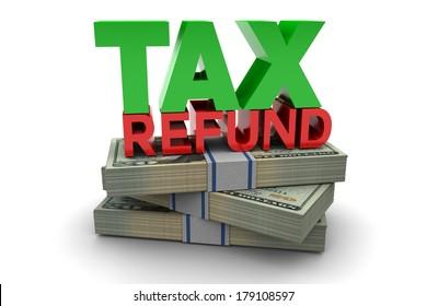 Tax refund illustration isolated on white background