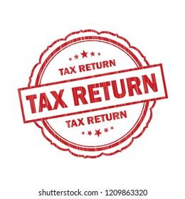 Tax Return grunge Stamp on white background,Thai design.