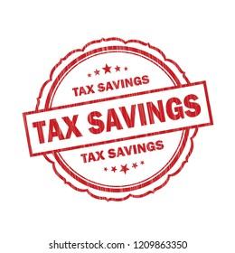 Tax Savings grunge Stamp on white background,Thai design.